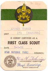 Andrew Tucker - First Class Scout card