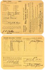 James Ross - Boy Scout Membership Application card